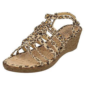 Ladies Spot su Leopard colorate zeppa sandali F10037