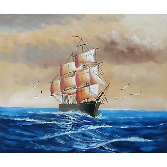 Segelboot mit Möwen, Navigations-Ölgemälde auf Leinwand, 50x60 cm
