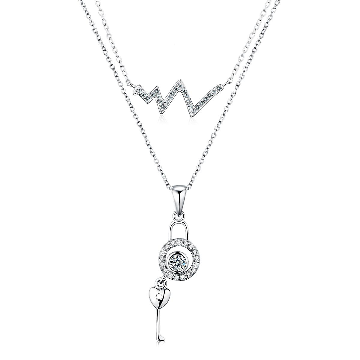 925 Sterling Silver Unlock Your Heart Pendant Layer Necklace