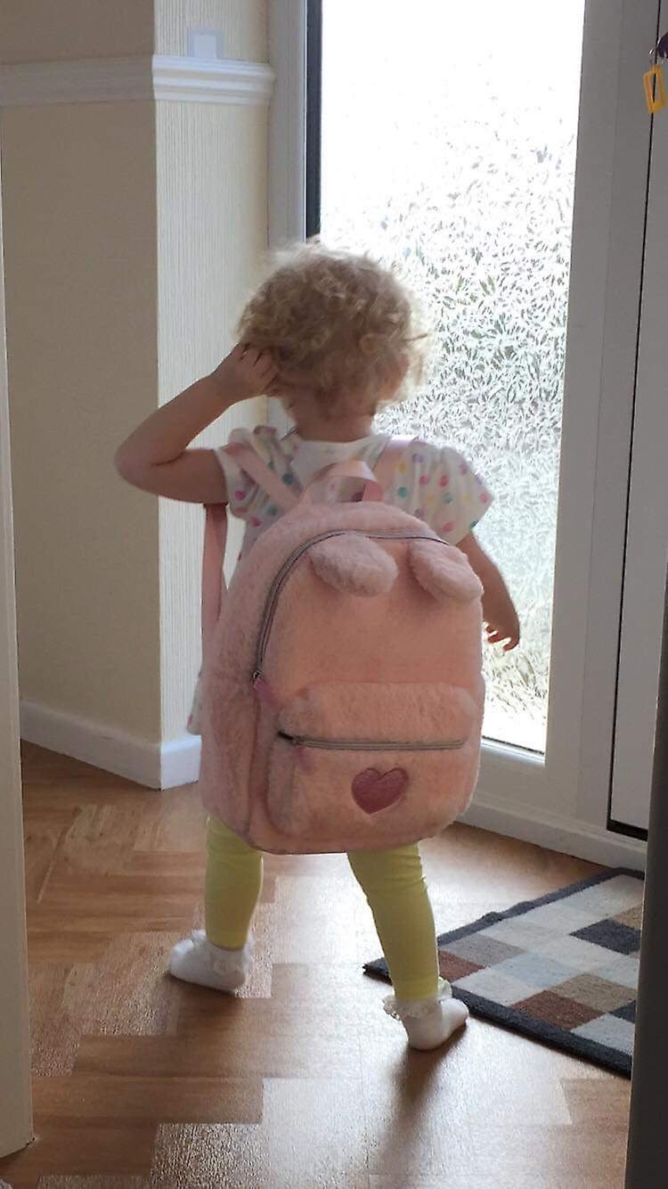 Girls pink faux fur sparkly bunny backpack