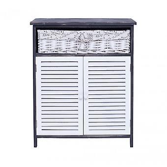 Möbel Rebecca Mobile Kleiderschrank 1 Korb 2 Ante Holz weiß Weiß Vimini 74x61x31