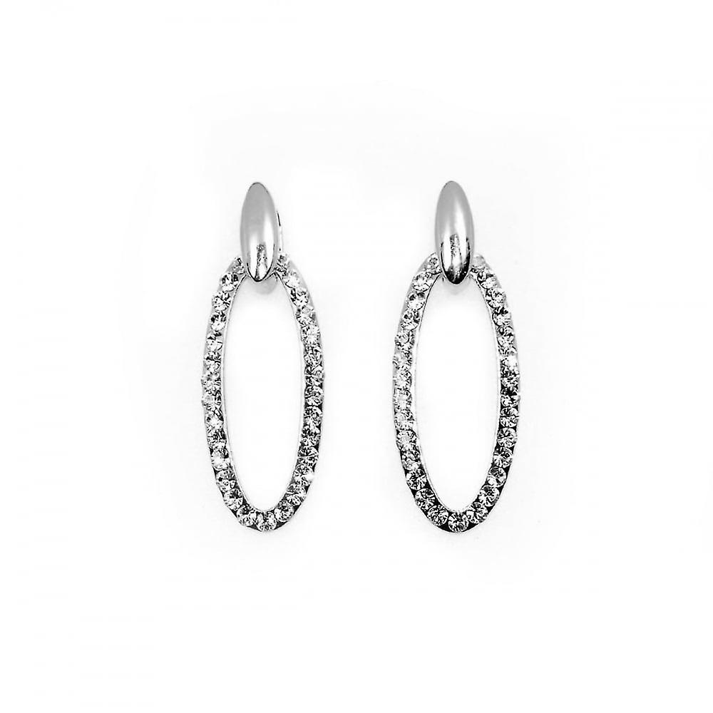 VIP Silver Plated Crystal Set Oval Drop Earrings