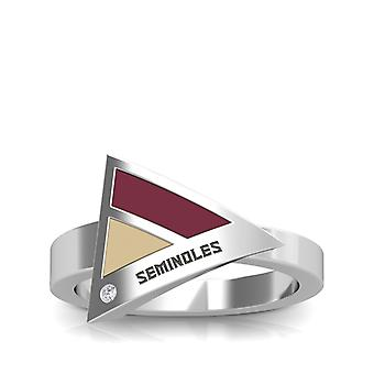Florida State University Engraved Sterling Silver Diamond Geometric Ring In Red and Tan