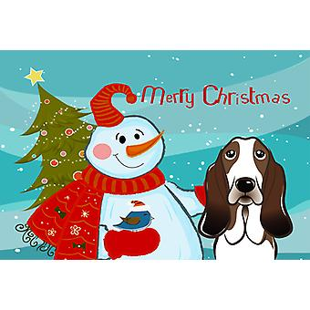 Carolines Treasures  BB1863PLMT Snowman with Basset Hound Fabric Placemat