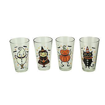 Johanna Parker Folk Art Halloween Glass Tumblers 16 Ounce Set of 4