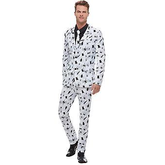 Beetle Traje Hombres Blanco con Pantalones de Chaqueta y Corbata traje de hombre