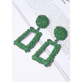 Chunky Geometric Textured Statement Earrings Green