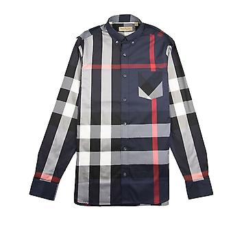 Burberry Thornaby shirt met lange mouwen Navy/rood