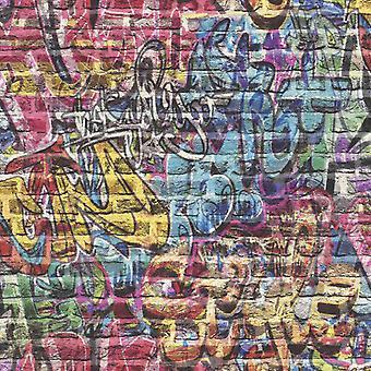 Efecto 3D Ladrillo Pared Graffiti Fondo Pintado Spray Pintura Adolescente Niños Niños Chicas Rasch