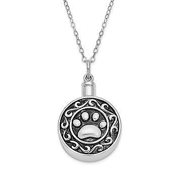 925 Sterling Silver Presentpåse Spring Ring Polerad tillbaka Rodium pläterad finish Paw Ash Holder 18inch Halsband Smycken Gi