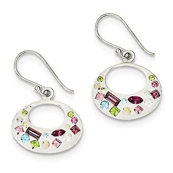 925 Sterling Silver Dangle Shepherd hook Polished back Multi-color Stellux Crystal White Earrings
