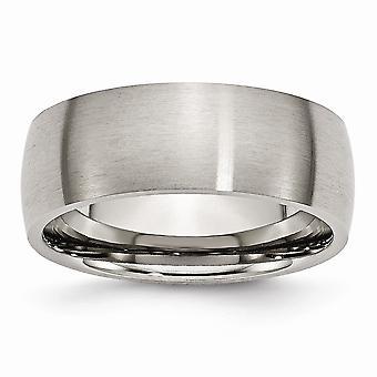 Titan halbe Runde gravierbare 8mm gebürstet Band Ring Schmuck Geschenke für Frauen - Ring Größe: 6 bis 15