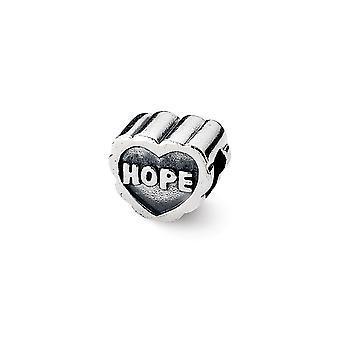 925 Sterling Silber antike Finish Reflexionen Hoffnung Herz Perle Charme
