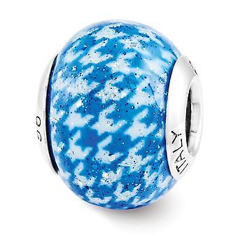 925 סטרלינג כסף מלוטש השתקפות משובץ כחול כיסוי איטלקי חרוז קסם תליון שרשרת מתנות תכשיטים עבור Wom