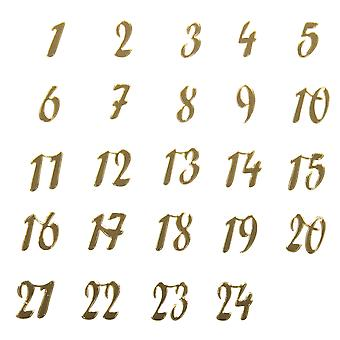 Acrylic Gold Mirror Christmas Advent Calendar Number Stickers