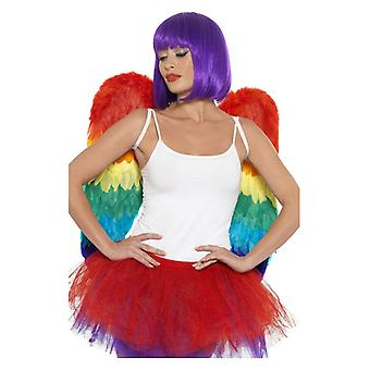 Adults Rainbow Feather Wings  Fancy Dress Accessory