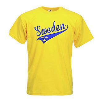 Suécia Swosh estilo T-shirt com 3 coroas