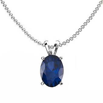 Dazzlingrock Collection 14K 8x6 mm Oval Cut Blue Sapphire Ladies Solitaire Pendant (Silver Chain Included), White Gold