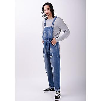 Bertie mens loose fit dungarees midwash with rips