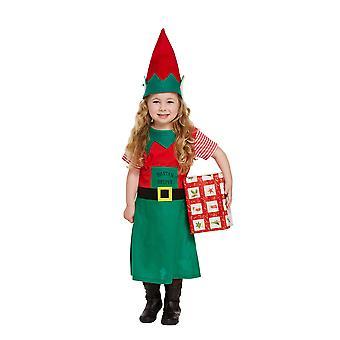 Småbarn flickor Santa ' s lilla hjälpare Elf fancy dress kostym ålder 3
