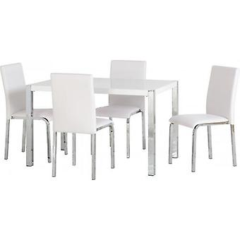Charisma 4' Dining Set - White Gloss/chrome/white Pvc