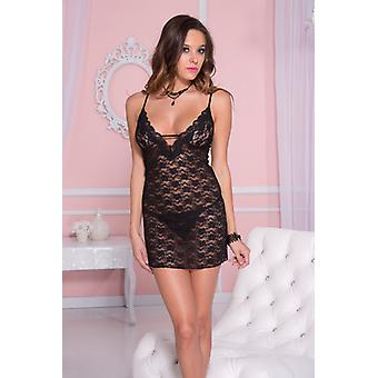 Lace Dress With Spaghetti Straps And Thread detail-Black