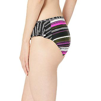Anne Cole Women's Side Flounce Bikini Swim, Sketchbook Stripe, Size X-Large