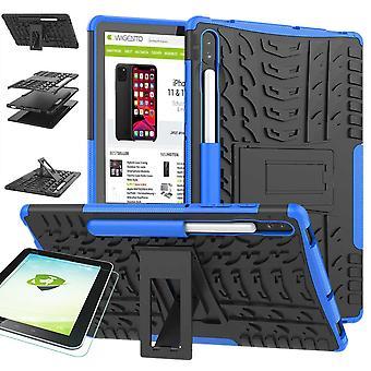 Voor Samsung Galaxy tab S6 10,5 T860 T865 hybride outdoor beschermende case blauw Case + 0,3 H9 beschermend glas