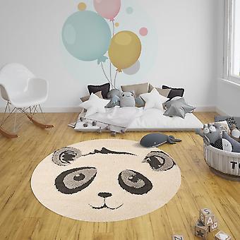 Juguete de alfombra de los niños Panda Pierre crema negro redondo 120 cm