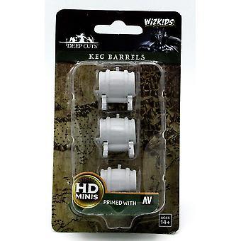 WizKids Deep Cuts Unpainted Miniatures Keg Barrels (Pack of 6)