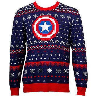 Capitán América Patterned Feo Suéter de Vacaciones