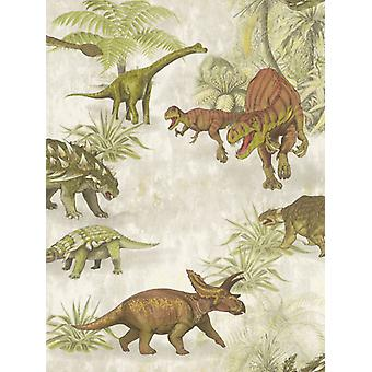 Dinosaur Forest Wallpaper Green / Brown Rasch 212808