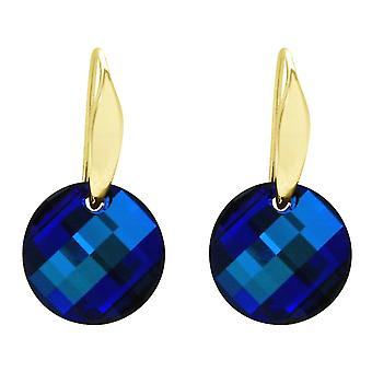 Gemshine earrings SWAROVSKI ELEMENTS. 925 Silver or Gold plated, Bermuda Blue