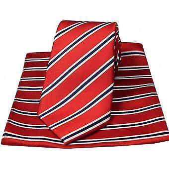 David Van Hagen Striped Silk Tie and Hanky Set - Red/White/Blue