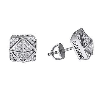 925 Sterling Silver Mens Womens Unisex Round CZ Cubic Zirconia Simulated Diamond Stud Cluster Square Fashion Earrings Je
