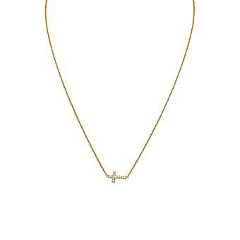 16 Pouces 14k Or Plaqué 925 Sterling Silver Necklace Sideways CZ Cubic Zirconia Simulated Diamond Religious Faith Cross