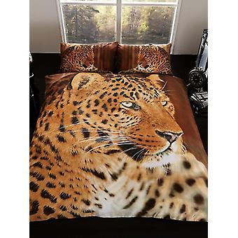 3D Leopard Doppel Bettbezug und Kissenbezug Set