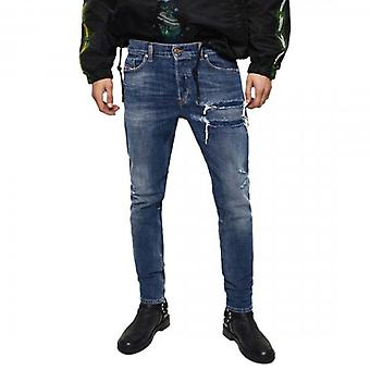 Diesel Tepphar-X Stretch Blue Rip & Repaired Denim Jeans 0890X