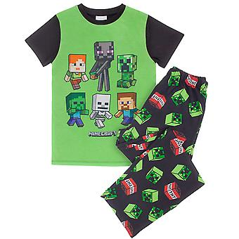 Minecraft Creeper TNT Boy's Kurzarm volle Länge Pyjamas
