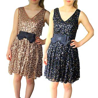 Darling Women-apos;s Roxanne Sequin et Bow Flared Party Dress