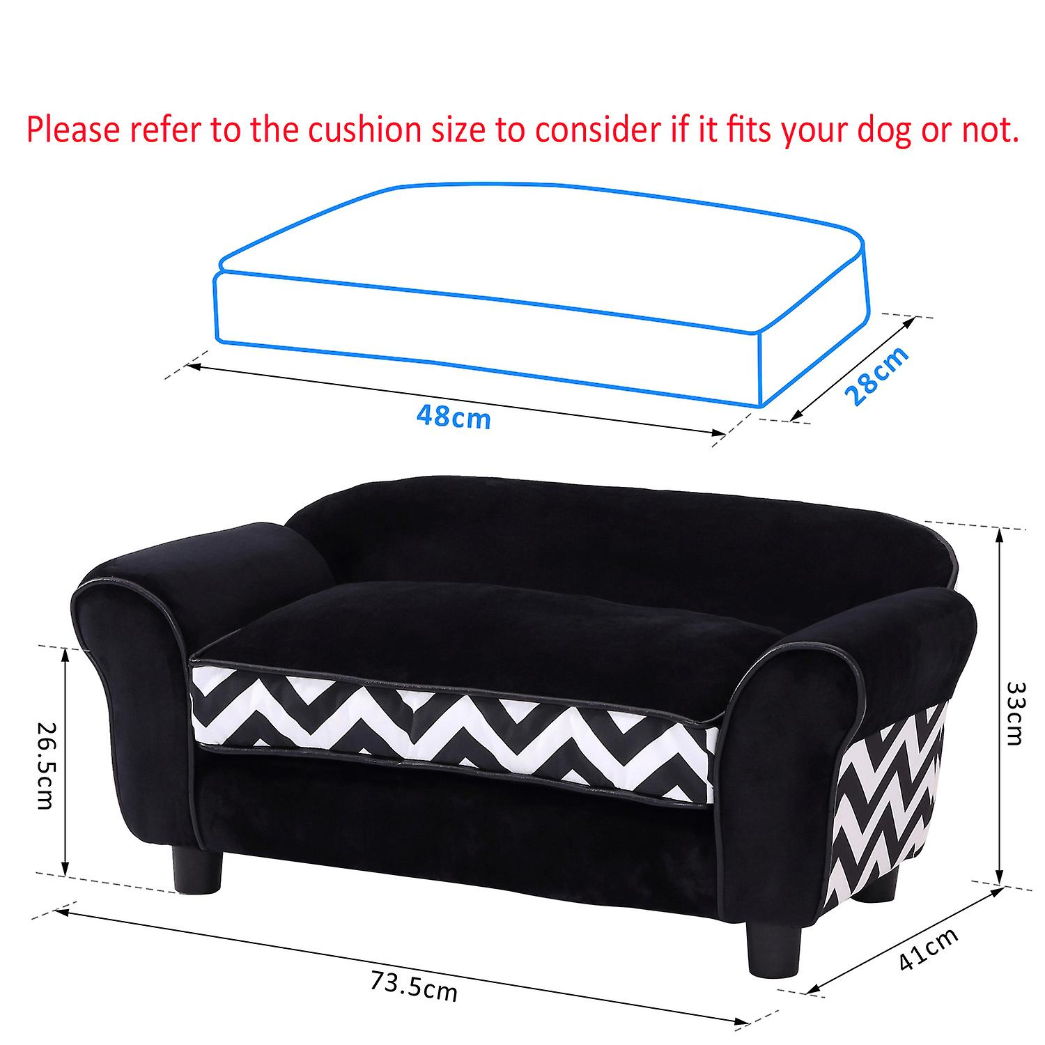 PawHut Pet Sofa Couch Dog Cat Wooden Sponge Sofa Bed Lounge Comfortable Luxury w/Cushion (Black)