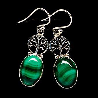 Malachite Tree Earrings 1 1/2