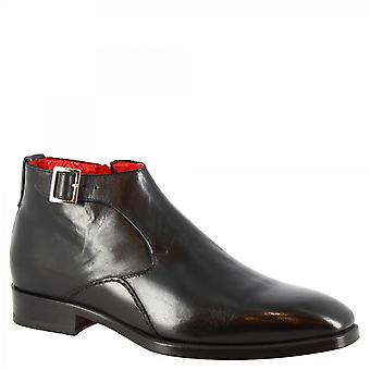 Men's handmade classy ankle boots in black calf leather with buckle