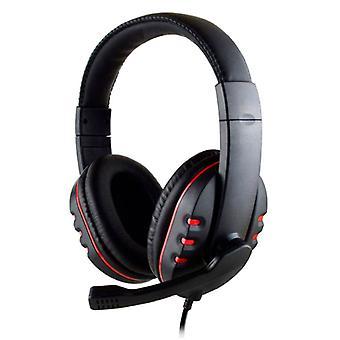 SOONHUA 有线游戏耳机耳机耳机在耳朵与麦克风红色