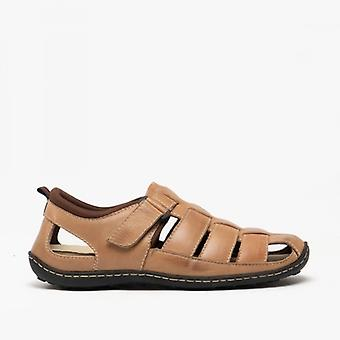 Roamers Jarvis Mens Leather Caged Touch Fasten Sandals Brown