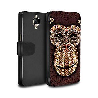 STUFF4 PU Leather Wallet Flip Case/Cover for OnePlus 3/3T/Monkey-Orange/Aztec Animal Design