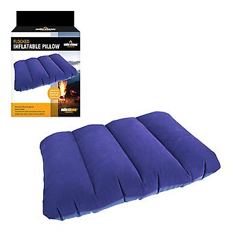Milestone Flocked Inflatable Travel Pillow Blue