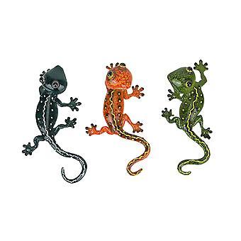 Set of 3 Resin Gecko Wall Hanging Art Lizard Sculpture Ornament Decorations