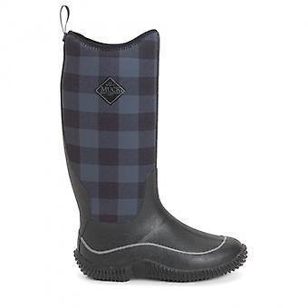 Muck Boots Hale Ladies Rubber Wellington Boots Black/grey Plaid