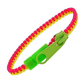 OOTB Children's Plastic Funky Pink and Green Zip Fastening 7.7 Inch Bracelet